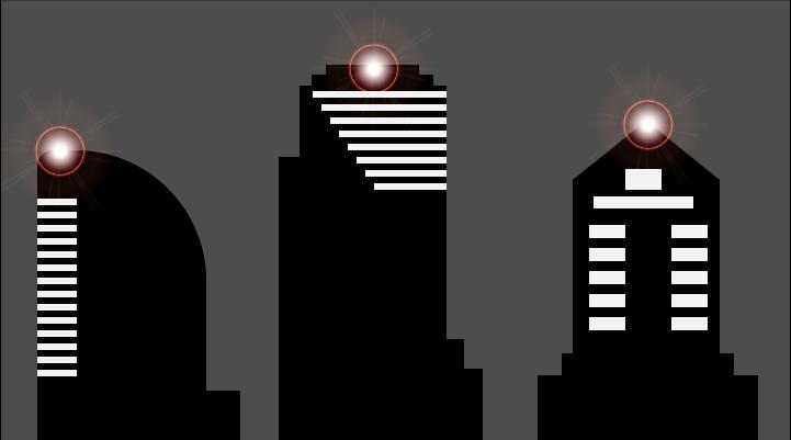 Tre skyskrapere med lys på taket.